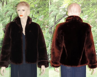 Vintage Mouton Coat in Luxurious Brown from the 1950's Cuff Satin Lining Side Pocket Size Small