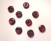 Vintage Doll Buttons Burgundy moonglow lot of 9