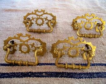 Four Eastlake Brass Drawer Pulls - Sunburst - Rare