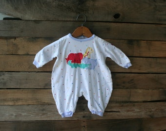 Vintage White Polka Dot Romper with Animals by Absorba Size 6 Months