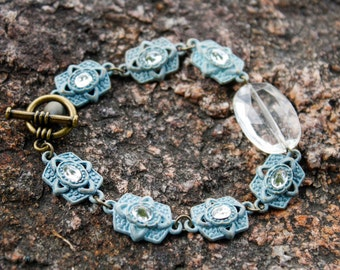 Blue Patina Links & Crystal Bracelet in Antique Brass - Cabochon, Gothic, Art Deco