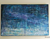 """Galaxy Art Painting: 24x36 Abstract Art, Mixed Media Art, Contemporary Painting, Original Art, 2'x3' Star Painting, Blue, """"There you are"""""""