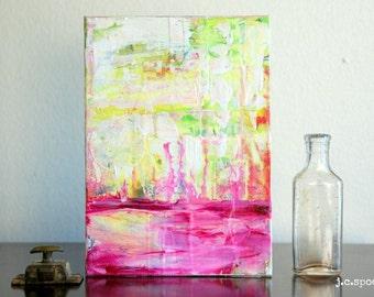 "Abstract Art Painting, 5x7"" Original Art Panel, Mixed Media Art, Contemporary Art, Bright Art, Pink, Fuschia, Yellow, Lime Green, ""Gratify"""