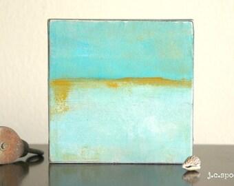"Abstract Painting: 4x4 Original Mixed Media Art, Minimalist Art, Original Art, Abstract Mixed Media, aqua, gold, sand, ""Mirage"""