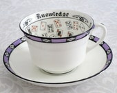 Vintage Purple Cup of Knowledge Tea Cup and Saucer Set, Fortune Teller Teacup and Saucer, Aynsley Fortune Telling Tasseomancy Cup