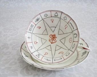 Nelros Fortune Teller Teacup Set  /  Vintage Tea Cup and Saucer Fortune Telling  /  Vintage Nelros Tasseomancy Tea Leaf Reading Cup