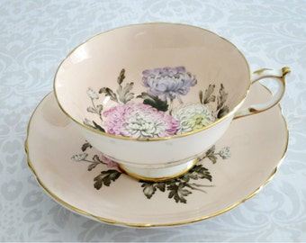 Vintage Paragon Tea Cup Set  /  Pink Chrysanthemum Teacup and Saucer /  Vintage Cup and Saucer by Paragon China
