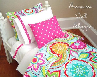 18 Inch Doll Bedding Set - Modern Bright Floral