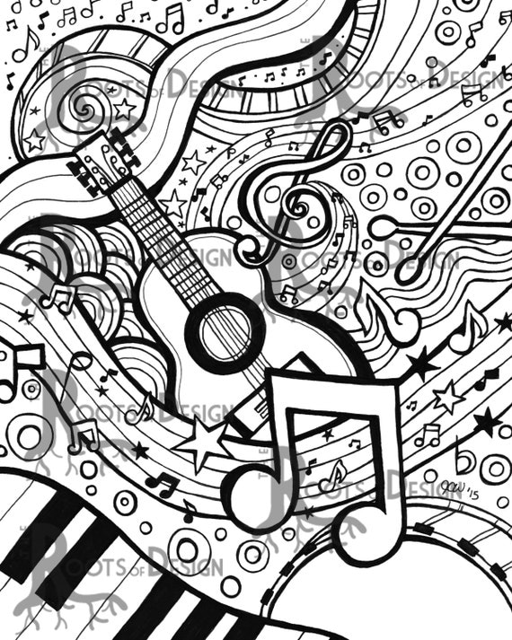 INSTANT DOWNLOAD Coloring Page - Music Art Print zentangle ...