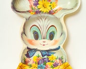 Vintage Rabbit / Cocktail Party / Serving tray / Small serving tray / decorative trays / Home living / Plastic / Easter Bunny / retro