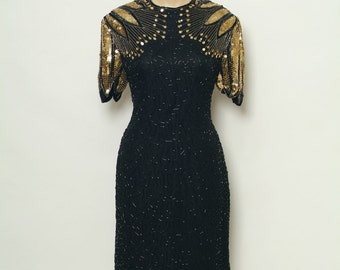 Vintage Sexy 80's Disco / Sequin Dress / Vintage Black Dress / Dress 80s / Metallic Dress / Vintage dress / Black Retro Cocktail Party Dress