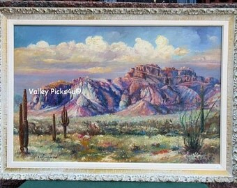 Vintage Western Desert Cowboy 1966 LEO J MILHOAN Oil on Canvas Painting