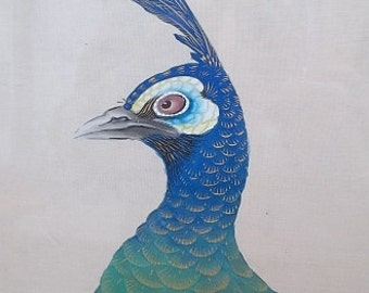 "52"" Antique Signed Japanese Blue PEACOCK Bird Woodblock Print WATERCOLOR Silk"
