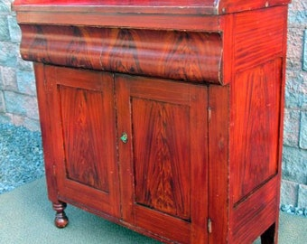 Antique Hand Paint Primitive John Rupp Hanover Pa Jelly Cupboard Chest Cabinet