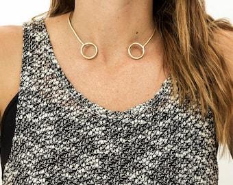 SALE Brass circle choker Collar