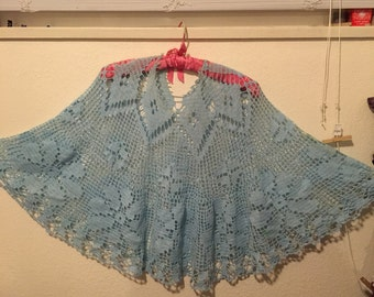 Sale!Crochet poncho cover-up or skirt/Cape/OSFA/Cotton very full sweep Lacey, no flaws