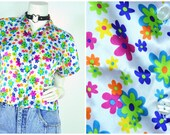 90s Limited Too daisy floral print neon silk pajama Crop top