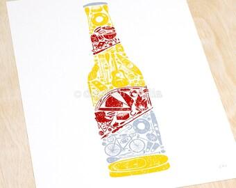 Beer Bottle Poster - Just Add Beer