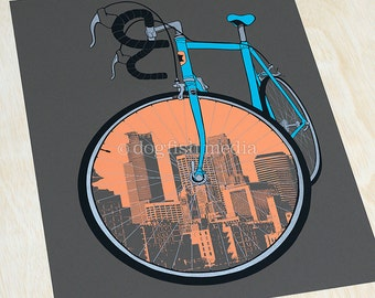 """18 x 24"""" City Bike - Minneapolis Cycling Poster"""