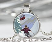 Ski Jewelry Skier Necklace Vintage Travel Poster Ski Lift Skiing Art Pendant in Bronze or Silver with Link Chain Included