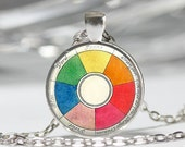 Vintage Color Wheel Necklace Artists Jewelry Teachers Students Art Pendant in Bronze or Silver with Link Chain Included