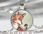 Fox Necklace Book Jewelry Reading Fox Bibliophiles Librarians Watercolor Art Pendant in Bronze or Silver with Link Chain Included