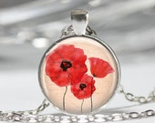 Red Poppy Necklace Field Of Poppies Flowers Floral Art Pendant in Bronze or Silver with Link Chain Included