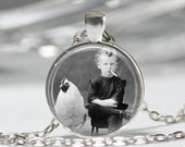 Creepy Jewelry Antique Photograph Cigarette Smoking Child with Chicken Art Pendant in Bronze or Silver with Link Chain Included