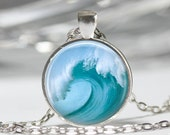 Tidal Wave Necklace Beach Jewelry Tsunami Ocean Surfer Nautical Art Pendant in Bronze or Silver with Link Chain Included