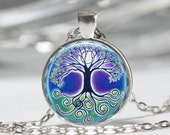 Tree of Life Necklace Full Moon Blue and Green Art Pendant in Bronze or Silver with Link Chain Included