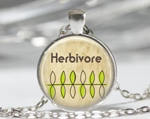 Vegetarian Jewelry Herbivore, Vegan, Organic, Plants, Earth Day Art Pendant in Bronze or Silver with Link Chain Necklace Included