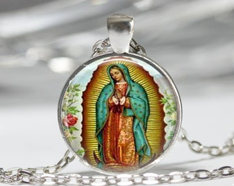 Our Lady of Guadalupe Necklace Virgin Mary Religious Catholic Glass Bezel Art Pendant in Bronze or Silver with Link Chain Included