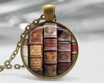 Book Necklace, Librarian Jewelry, Library, Bibliophile, Book Lover, Bookworms, Art Pendant in Bronze or Silver with Link Chain Included
