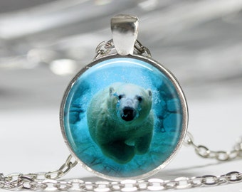 Polar Bear Necklace Bear Jewelry Arctic Ocean Animals Nature Art Pendant in Bronze or Silver with Link Chain Included