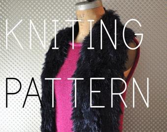 Easy Knitting Pattern Faux Fur Black Scarf - Digital Download