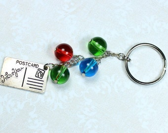 "Key Chain - Postcard Charm - Bright Color Beads ""Postcard From You"""
