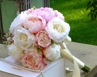 Blush  Pink Peony Wedding Bouquet - PINK PERFECTION, Wedding Bouquet, Silk Peony Wedding Bouquet, Peony and Garden Roses Bridal Bouquet.