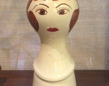 Vintage Ceramic Hand Painted Hat or Wig Stand Marked ED 192 - vintage wig stand, vintage hat stand, ceramic head figure, female head, Stangl
