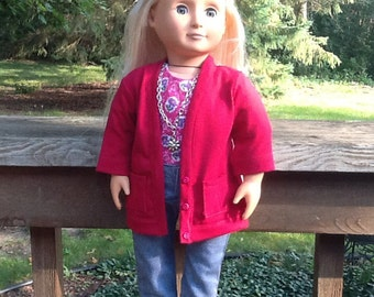 Blue Jeans, Cardigan Sweater, Shirt and Sneakers for 18 Inch Doll like American Girl, girl gift, girl toy, jean outfit