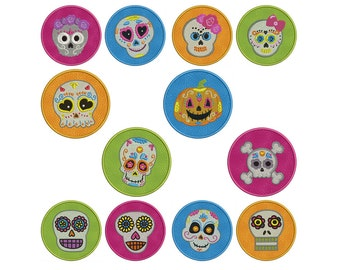 In-The-Hoop COASTERS - Sugar Skulls - Machine Applique Embroidery - Instant Digital Download