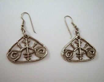 Modernist silver tone earrings by Toffano