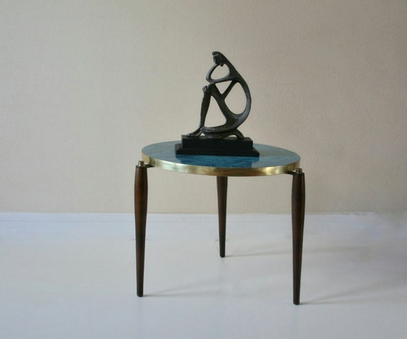 Vintage 60s Formica Side Table, Mid Century Modern, Turquoise