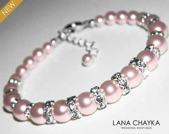 Pink Pearl Bracelet Wedding Blush Pink Pearl Silver Bracelet Swarovski Rosaline Pearl Bridal Bracelet Bridal Jewelry Wedding Jewelry