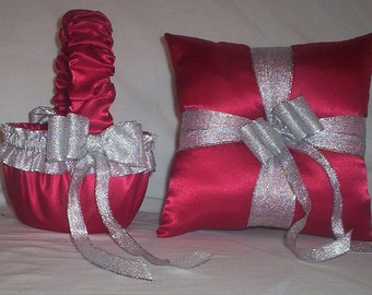 Red Satin With Silver Metallic Ribbon Trim  Flower Girl Basket And Ring Bearer Pillow Set 1