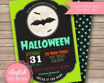Printable Bats Halloween Party Invitation, Full Moon Halloween Invitation, Full Moon Invite in Black, Teal, Orange, Green
