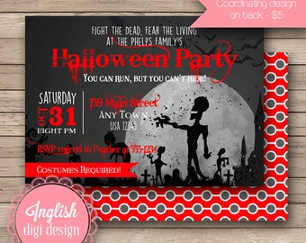 Printable Zombie Halloween Party Invitation, Zombie Halloween Invitation, Zombie Invite in Black, Gray, Red