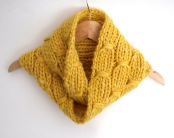 Yellow Cowl Scarf , Chunky thick knit wool / silk reversible cowl , hand knit chunky cowl  , winter accessory , christmas gift for her