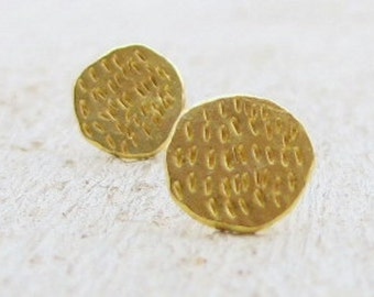 Solid 22k Gold Stud Earrings - Gold Post Earrings - Gold Studs - Solid Gold Wedding Earrings
