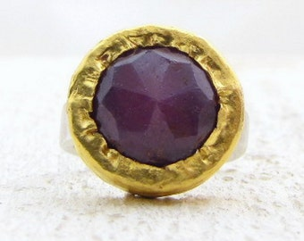 Gold Ruby Ring - 24k Gold & Silver Ring - Round Ruby Ring - Gemstone Ring - Coctail Gold Ring - Solid Gold Ring
