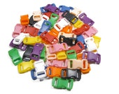 "Safety Breakaway Pull-Apart Buckles, 3/8"" (10mm) Ten Colors to Choose From. Contoured, Side-Release, Plastic. Perfect for Cat Collars."